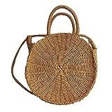 Round Straw Shoulder Bag for Women WZTO Round Crossbody Bag Fashion Summer Shouler Bag and Travel Sling Bag for Women