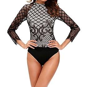- 51KEpDUmy5L - SUBWELL Women's Lace-up Long Sleeve Bodycon Stretch Clubwear Leotard Bodysuit Jumpsuit