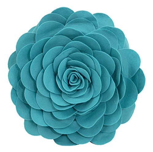 Fennco Styles Evas Flower Garden Decorative Throw Pillow Cover, 13 Inch Round, Teal