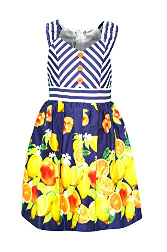 Border Bold Big (Big Girls Tween Mitered Stripe and Bold Citrus Border Print Dress, R4-TG16-RST16, Bonnie Jean, Navy, 10)