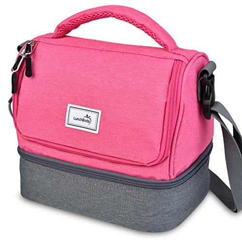 Duo Lunchbots (LunchBots Duplex Insulated Lunch Bag - Dual Section Design Fits LunchBots Uno, Duo, Trio, Quad, Rounds, Bento Cinco Perfectly - Roomy Thermal Lunch Bag for Kids and Adults - Pink)