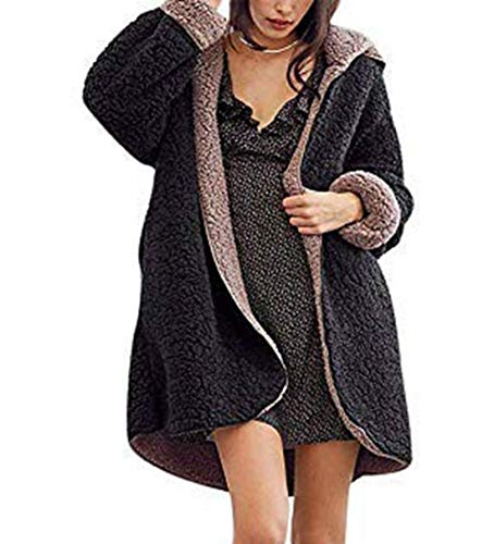 - Comeon Women\'s Fuzzy Winter Coat Warm Faux Fur Reversible Open Front Long Coat Cardigan Jacket Outwear with Pockets (Black,Medium)