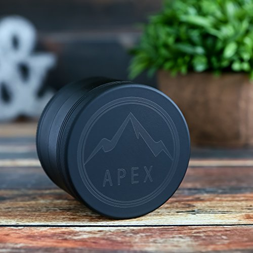 Soft Touch Limited Edition Matte Black Apex Herb Grinder Top Rated 2.5 Inch 4 piece with Pollen Catcher by Apex (Image #6)