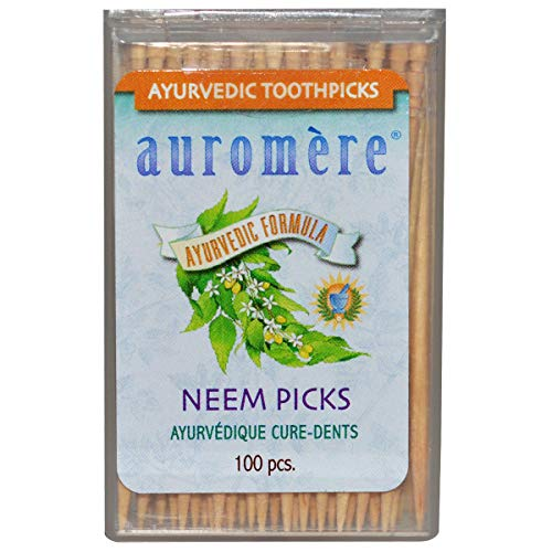 (Ayurvedic Neem Toothpicks by Auromere - All Natural, with Neem and Vegan - 100ct)