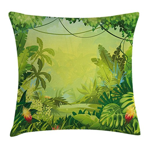 Large Foliage Plants (Nature Throw Pillow Cushion Cover by Ambesonne, Jungle with Red Flowers and Large Tropical Plants Foliage Woodland Fern Illustration, Decorative Square Accent Pillow Case, 20 X 20 Inches, Lime Green)