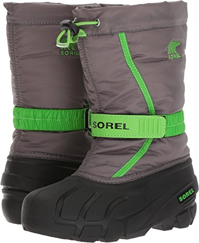 Sorel Boys' Flurry Waterproof Winter Boots, Black/Bright Red Quarry/Grn 3