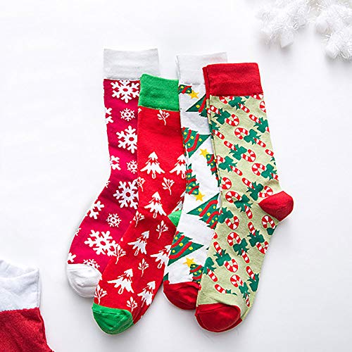 Christmas Long Socks,Women Cotton Xmas Tree Multi-Color Printed Leg Warmer Winter Warm Socks (Free Size, D) by Leewos (Image #4)
