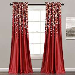 "Lush Decor Weeping Flower Room Darkening Window Curtain Pair, Panel 84"" x 52"", Red"