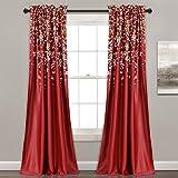 Lush Decor Lush Décor Weeping Flower Room Darkening Window Curtain Pair, Panel 84″ x 52″, Red