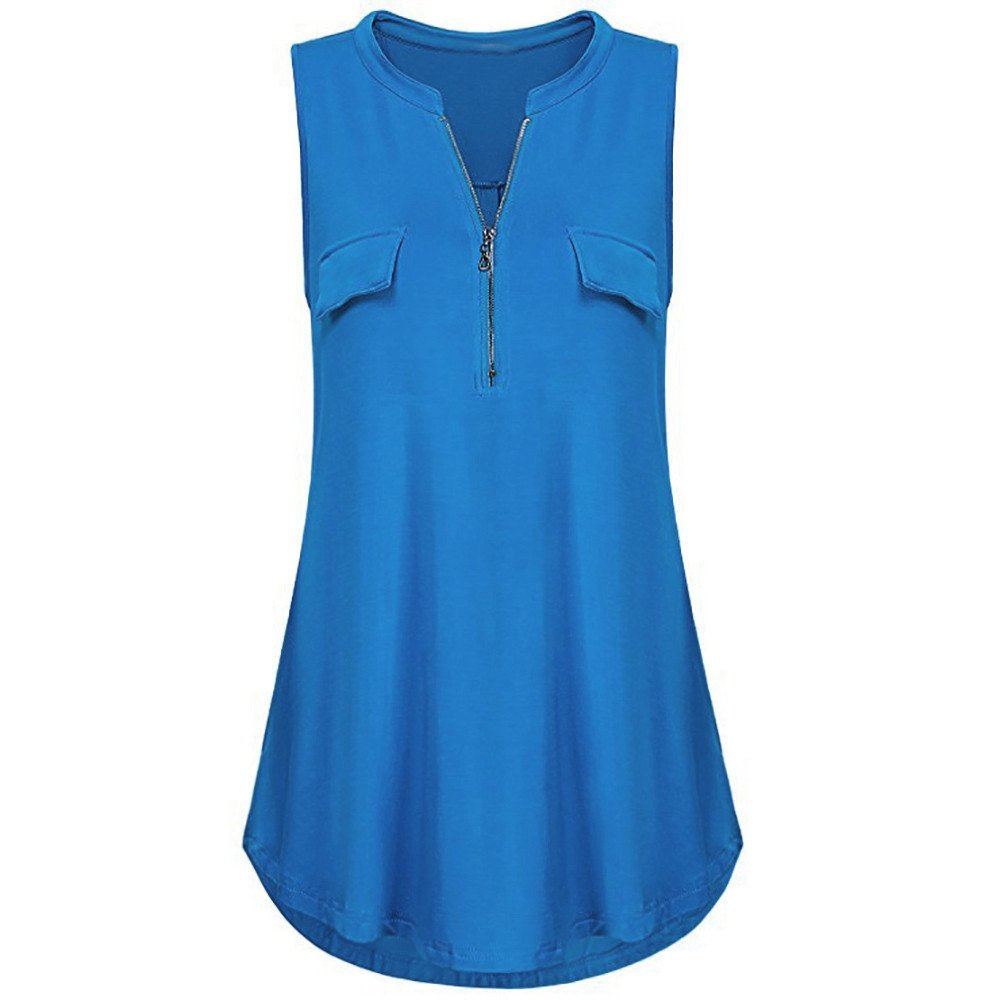 Women Blouses and Tops Fashion 2019 Summer Solid Button Pockets V Neck Tank Tops Vest Blouse Blue