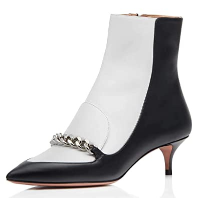 4833ae6f2318 FSJ Women Comfortable Walking Pointed Toe Ankle Booties Low Kitten Heels  Winter Zipper Shoes Size 4