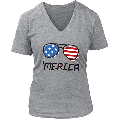 4th of July 'Merica Sunglasses Women's V-Neck - V Shirt Sunglasses Neck