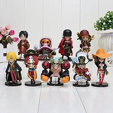 Amazon.com: 9pcs Anime One Piece figura de acción con base ...