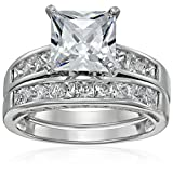 Platinum Plated Sterling Silver Cubic Zirconia Princess Solitaire Ring with Princess-Cut Side Stones and Princess-Cut Bridal Set Wedding Band, Size 8