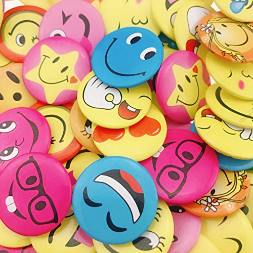 Smile Face Buttons - Wankko Mini Smiley Smile Face Button Pins,1.2 Inch Size - 72 Pack