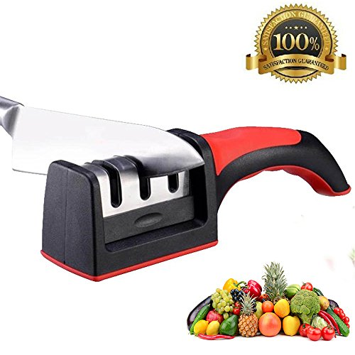 Knife Sharpener for Straight and Serrated Knives,Knife Sharpener System.Suitable for All Fruit Knife,Chef Knife,Kitchen Knife,Portable 3 Stages, Coarse, Medium,Fine (red)