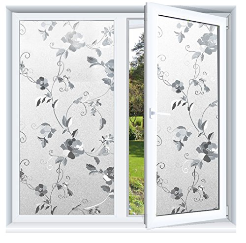 Prismoon No Glue 3D Static Decorative Frosted Privacy Window Films for Glass 23.6 x 78.7inch (60 X 200cm) Upgrade Version for Home Kitchen Office Pattern Peony