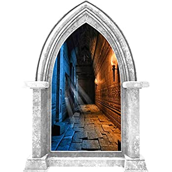 Huge 3D Window view Fairy tale Enchanted Forest Fantasy Wall Sticker Film 567