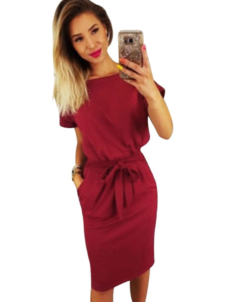 Payeel Office Midi Dresses O-Neck Pencil Dress Pockets with Belt Vest Dresses (Wine Red, M)