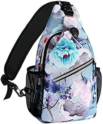 MOSISO Rope Sling Backpack Multipurpose Crossbody Chest Shoulder Outdoor Travel Hiking Daypack with Printed Pattern Up to 13 Inch
