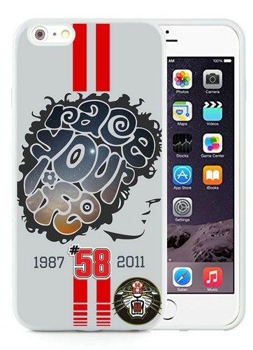 Iphone 6 Plus TPU Case,Marco Simoncelli 58 Tiger Race For Life Grand Prix Motogp White Shell Case for Iphone 6S Plus 5.5 Inches