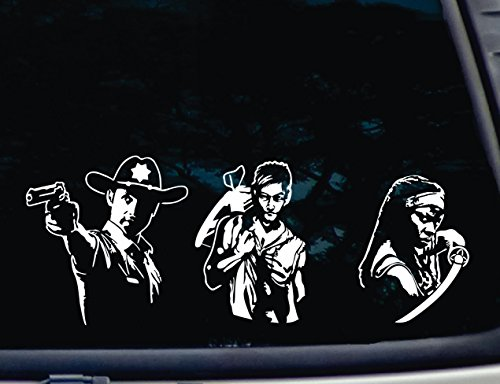 ULTIMATE Walking Dead Set of 3 - Daryl, Rick and Michonne - Various Sizes - die cut vinyl decal for windows, cars, trucks, vehicles - virtually any hard, smooth surface. NOT PRINTED! -