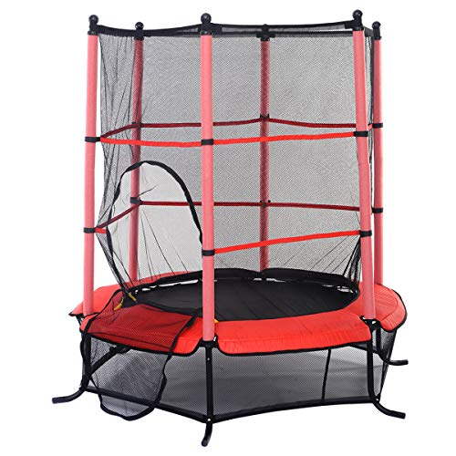 - GYMAX Mini Trampoline, 55'' Round Rebounder Exercise Trampoline for Kids with Safety Pad Enclosure Combo (Red)