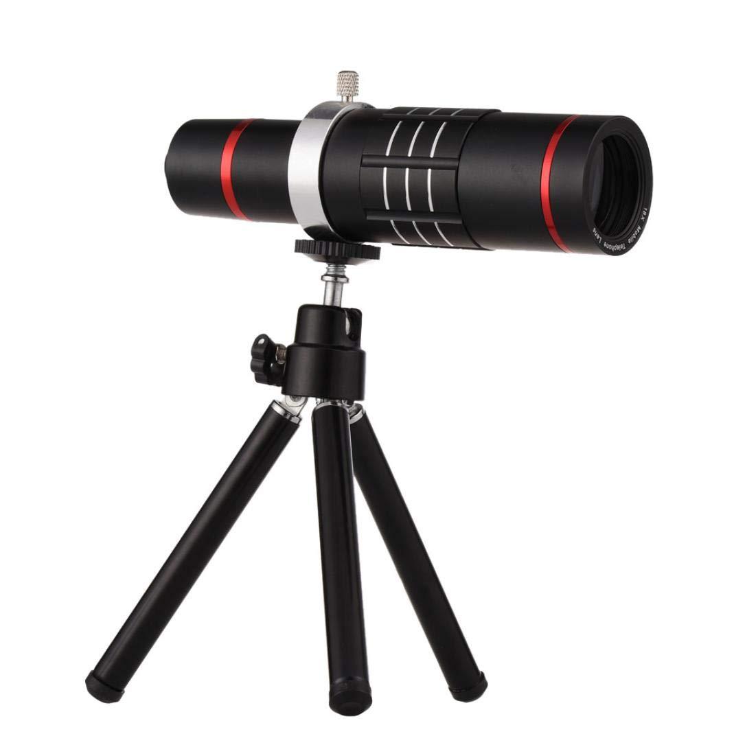 Sonmer HD 18x Optical Zoom Smartphone Camera Aluminum Alloy Telescope, With Clip Tripod (Black)