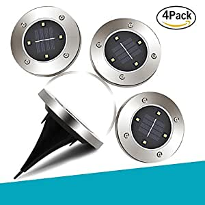 4 Pcs 4 LED High Bright Solar Ground Lights,BUNKER INDUST Landscape Path Light Outdoor Lamp Waterproof for Garden Driveway Pathway Lawn (White)