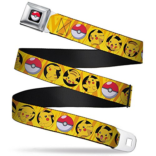 Buckle-Down Men's Seatbelt Belt Pokemon Kids, Pikachu/Poke Ball Bullseye Yellow Rays, 1.0