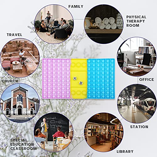 Big Game Fidget Toy,Chess Board Square Bubble Pop Toys,Large Chess Board Toy with Two dice, Interactive Jumbo Stress Relief Fidget Toy to Play with Friends,Gift Educational Game for Kids Teen
