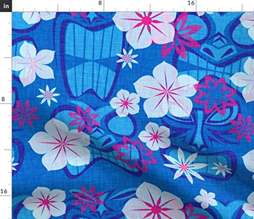 (Blue Tiki Fabric - Vintage Lagoon Summer Hawaiian Tropical Aloha Beach Island Floral Hibiscus Print on Fabric by The Yard - Denim for Sewing Bottomweight Apparel Home Decor Upholstery)