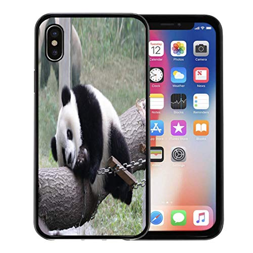 or Apple iPhone Xs case,Adorable Playful Giant Panda Cub in The Playground Animal Bamboo Chinese for iPhone X Case,Rubber Border Protective Case,Black ()