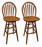 The Furniture Cove 2 New Oak Finish Swivel Seat Arrow Back Bar Stools For Sale