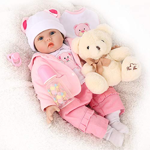 CHAREX Realistic Reborn Baby Doll Girls, Handmade Lifelike Silicone Weighted Dolls, 22 Inch Reallife Newborn Baby Dolls with Bear, Gifts/Toys for Kids Age 3+, EN71 and ASTM F96 from CHAREX