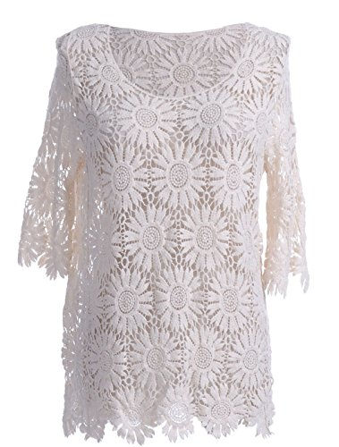 Anna-K S/M Fit Beige Sunflower Floral Pattern Crochet Lace Scallop Edges Top by Anna-Kaci