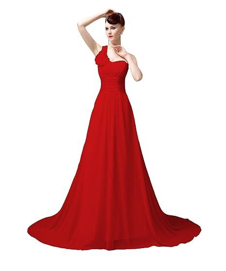 YesDress Women Formal Elegant One Shoulder Lace Up White Evening Party Prom Dress (UK4,