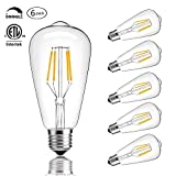 CMYK Vintage Edison LED Bulb, Dimmable 4W ST64 Antique Bulb, 40W Incandescent Equivalent, 330 Lumens, E26 Base, 2700K, Soft Warm White Filament Light For Decorate Home, Restaurant, Office, Pack of 6
