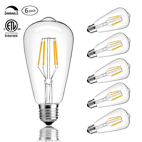 - CMYK Vintage Edison LED Bulb, Dimmable 4W ST64 Antique LED Bulb Squirrel Cage Filament Light For Decorate Home, E26, 4000K, Daylight, Pack of 6