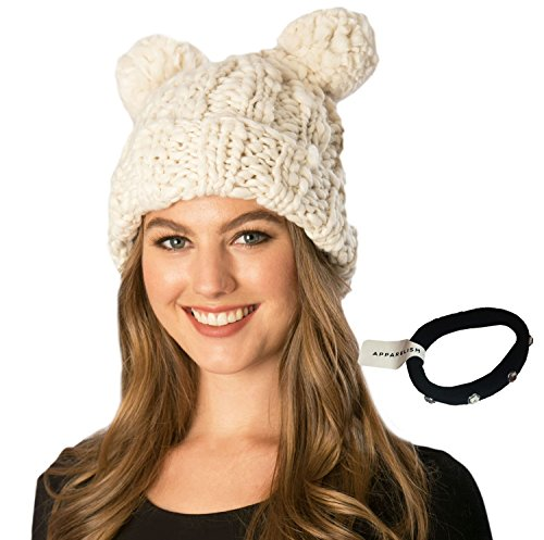 Women's Handcrafted Soft Chunky Knitted Double Pom Pom Beanie Hat with Hair ()