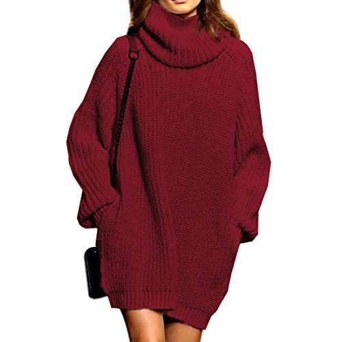Sweater Dress for Women Cowl Neck Cashmere with Pocket Thick Oversized Pullover Tops,Wine red(M)