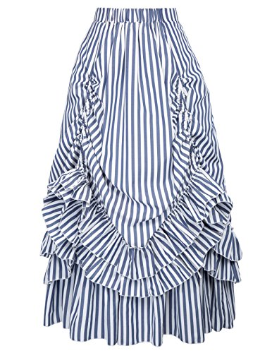 Bustle Over Skirt - Classic High Waist Blue White Stripes Gothic Bustle Skirt Falda (L, Blue White)