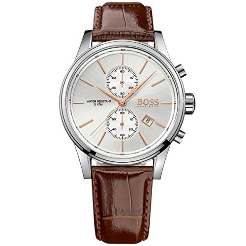 Hugo Boss Jet Silver / Brown Leather Analog Quartz Chronograph Men's Watch 1513280