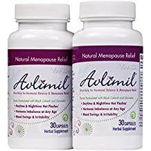 Avlimil Natural Menopause Supplement Pills | Balance Hormones, Ease Hot Flashes, Sweating, Mood Swings - Genistein Isoflavones, Black Cohosh, Damiana Leaf, Valerian - 60 Capsules (2 Months)