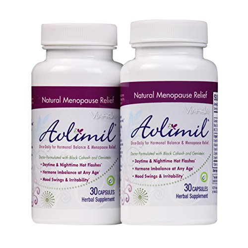 Avlimil Natural Menopause Supplement Pills | Balance Hormones, Ease Hot Flashes, Sweating, Mood Swings - Genistein Isoflavones, Black Cohosh, Damiana Leaf, Valerian - 60 Capsules (2 Months) (Damiana Leaves)