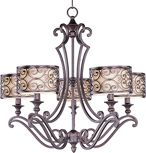Maxim Lighting 21155WHUB Mondrian-single-Tier Chandelier Mondrian 5-Light (Forged Iron 5 Light Chandelier)