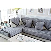 ZebraSmile Gray Various Sizes Antiskid Decrotive Sofa Towel For Winter Short Plush Thickened Non Slip Sofa Cover Weighted Sofa Slipcover For Sofa and Sofa Arm
