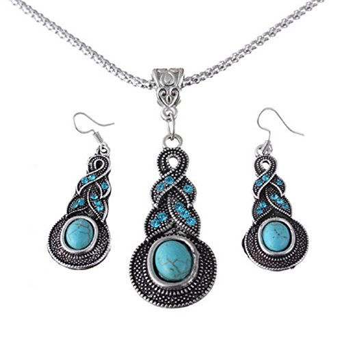 Tonsee Women Water Drops Green Turquoise Chunky Pendant Necklace Earrings Set