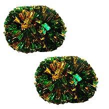 Colorful Large Plastic Baton Handle Cheerleading Poms 120g (Pair), Green+Gold