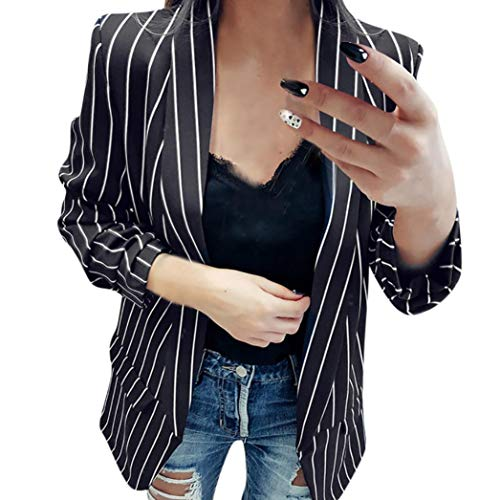Women Ladies Long Sleeve Striped Printed Elegant Duster Blazer Jacket Coat Black